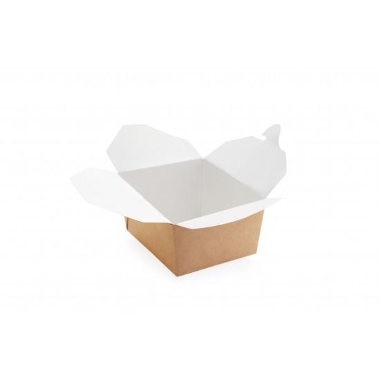 Ланч-бокс бумажный универсальный для еды на вынос, 1РЕ крафт 130*105*64мм