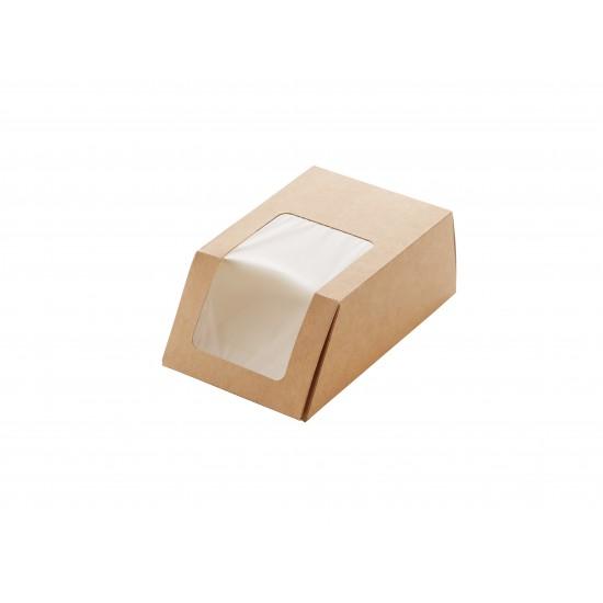 Упаковка бумажная для роллов, тортильи 90*50*130мм, крафт с окошком