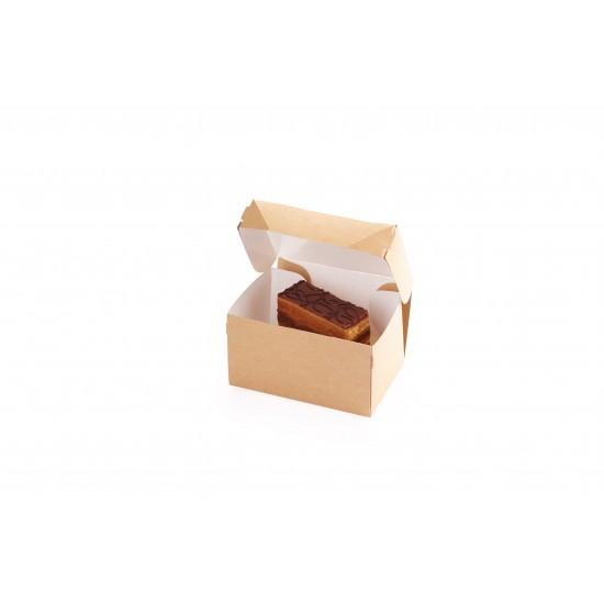 Контейнер бумажный для еды на вынос, 1РЕ крафт 150*100*85мм