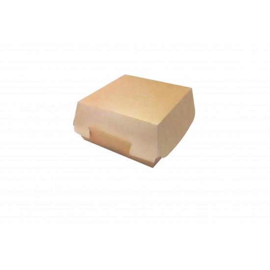 Коробка бумажная под бургер большая 120*120*70мм цвета крафт, внутри белый