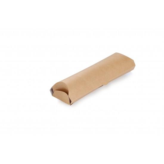 Упаковка бумажная для лаваш-роллов 200*70*55мм, крафт/белый