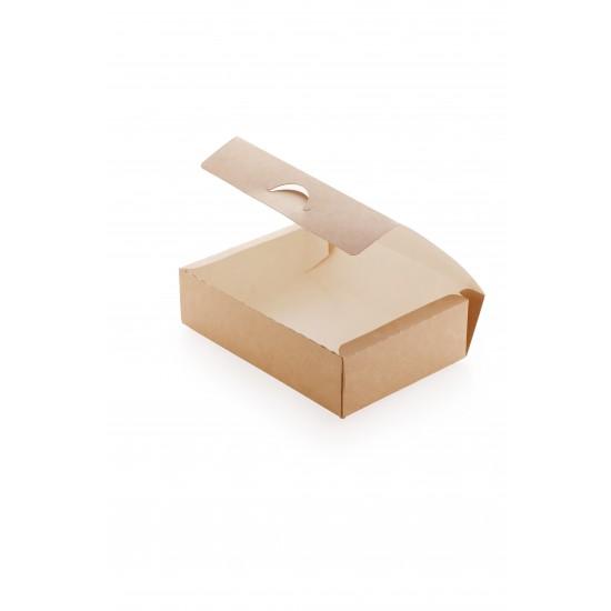 Контейнер бумажный для еды на вынос, 1РЕ крафт 165*115*45мм