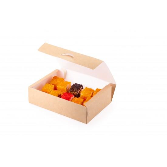 Контейнер бумажный для еды на вынос, 1РЕ крафт 215*165*55мм