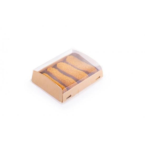 Контейнер бумажный 1РЕ крафт 200*100*40мм, 600мл с купольной РЕТ крышкой