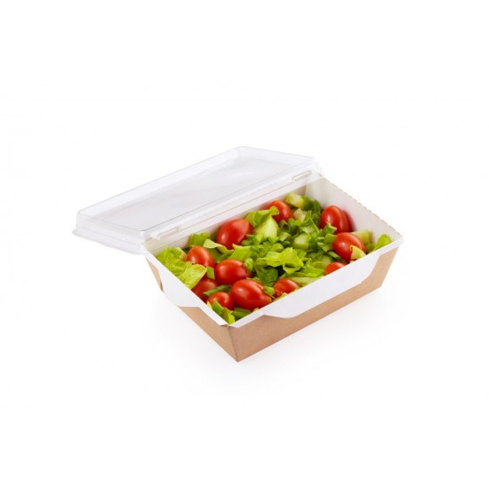 Контейнер бумажный для еды на вынос, 1РЕ крафт 121*106*55мм, 350 мл с прозрачной плоской РЕТ крышкой