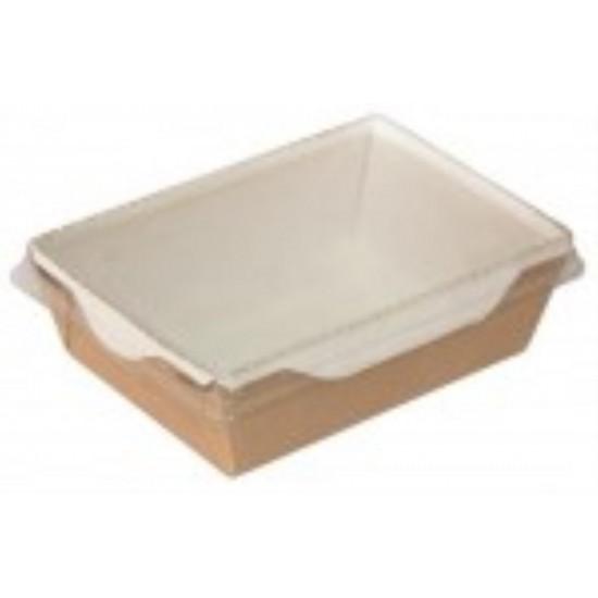 Контейнер бумажный для еды на вынос, 1РЕ крафт 145*100*55мм, 450 мл с прозрачной плоской РЕТ крышкой
