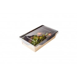 Контейнер бумажный для еды на вынос, с черной 1РЕ крафт 145*100*45мм, 400 мл с прозрачной плоской РЕТ крышкой