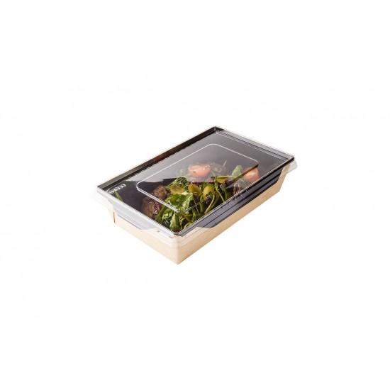 Контейнер бумажный 800мл с плоской PET крышкой | Крафт/Черная 1PE 207*127*55мм