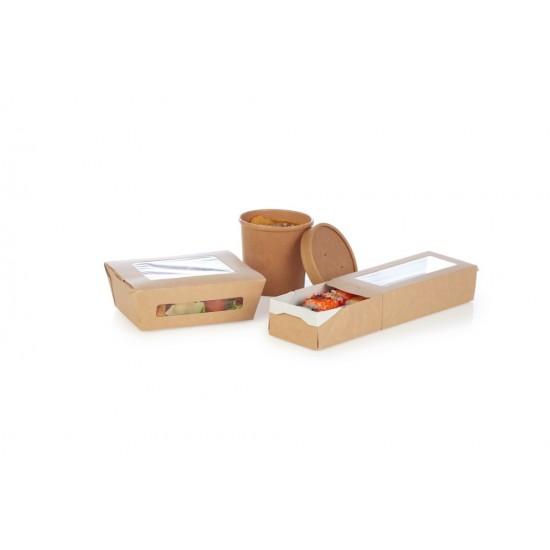 Контейнер бумажный для салата  1РЕ крафт 190*150*50мм с окошками 1000мл