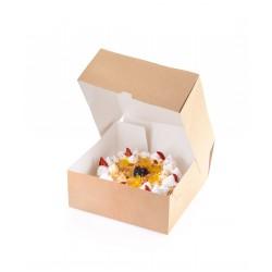 Контейнер бумажный для еды на вынос, крафт 255*255*105мм
