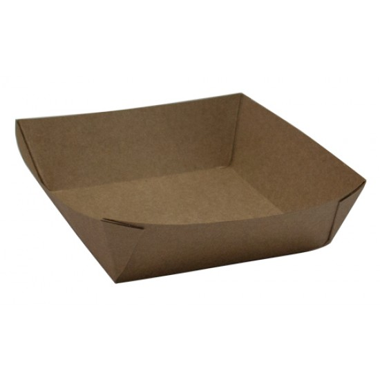 Тарелка-лодочка бумажная квадратная  110*110*42 мм крафт