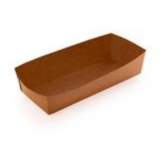 Тарелка-лодочка бумажная под ход-дог | Крафт 165*70*40мм