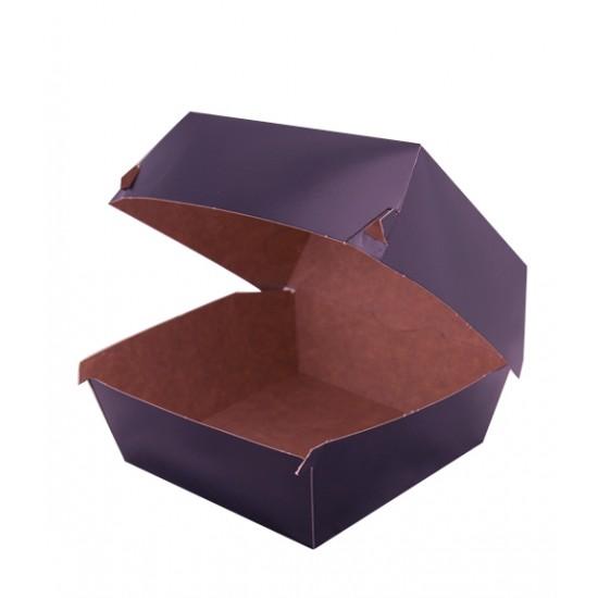 Коробка бумажная под бургер высокая 118*118*86мм черная снаружи (крафт внутри)