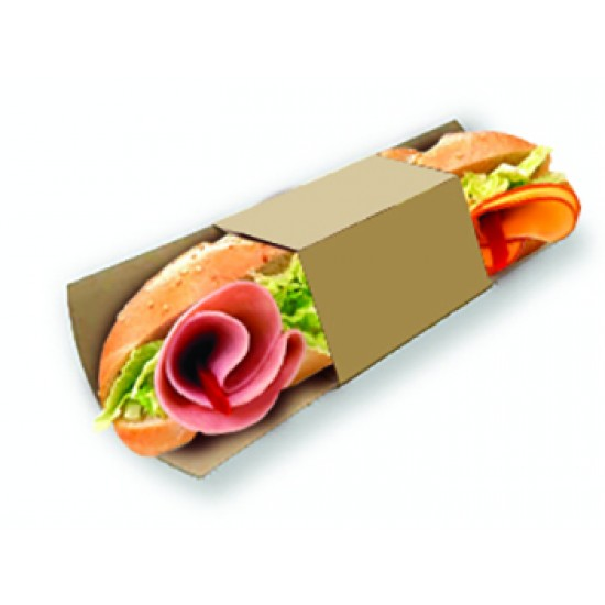 Подложка бумажная с кольцом для роллов, багетов | Крафт 230*91мм