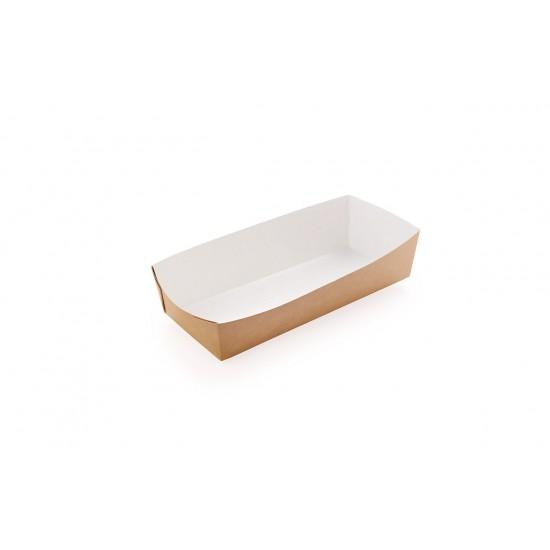 Тарелка-лодочка бумажная под ход-дог   Крафт/Белая 1PE 165*70*40мм