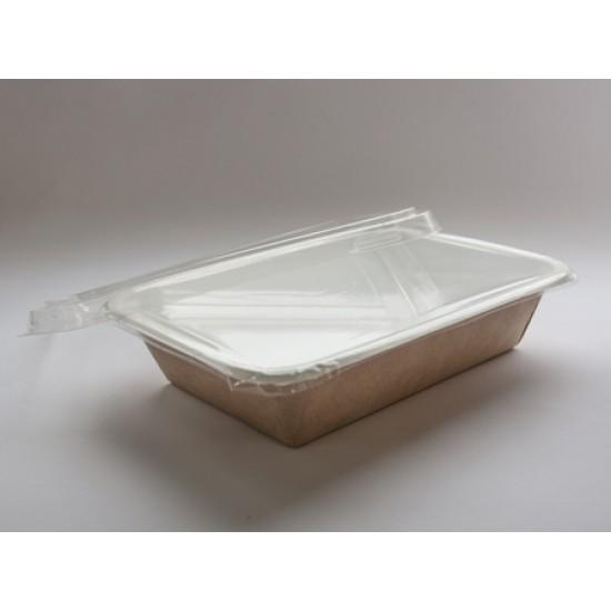 Контейнер бумажный (под запайку) 500мл с плоской PET крышкой | Крафт/Белая 1PE 140*90*42мм