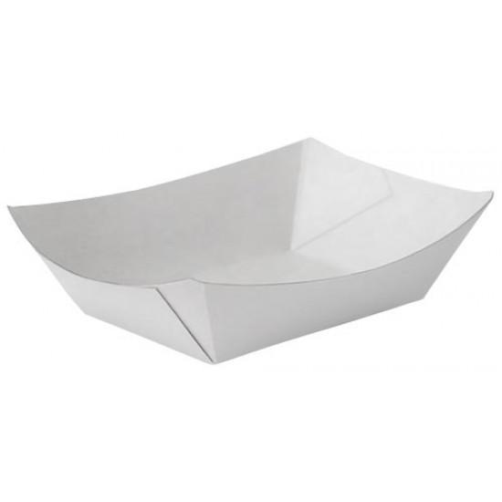 Тарелка-лодочка бумажная большая 138*82*50мм белая