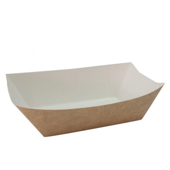 Тарелка-лодочка бумажная большая 138*82*50мм крафт