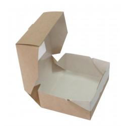 Контейнер для еды бумажный универсальный с окошком 100*80*35мм, 1РЕ крафт