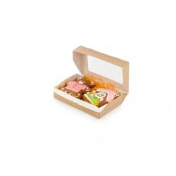 Контейнер для еды бумажный универсальный с окошком 200*120*40мм, 1РЕ крафт