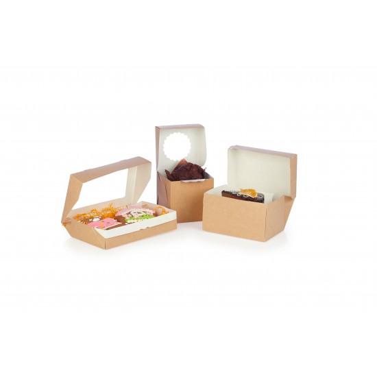 Контейнер для еды бумажный универсальный с окошком 260*150*40мм, 1РЕ крафт