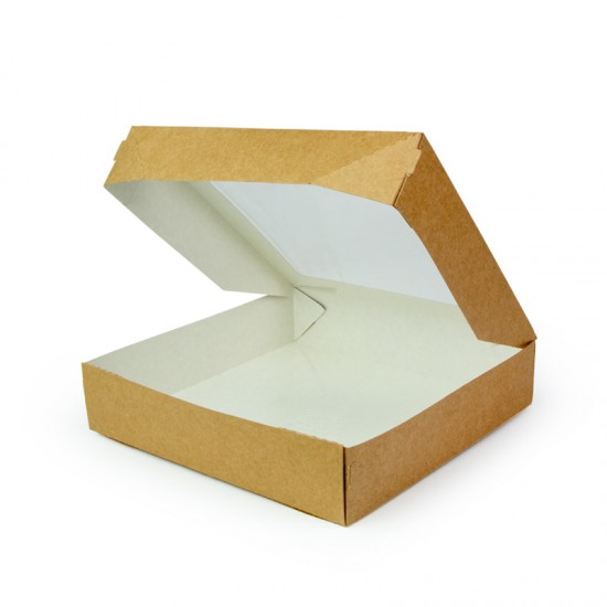 Контейнер бумажный с окошком универсальный 1500мл | Крафт/Белая 1PE 200*200*40мм