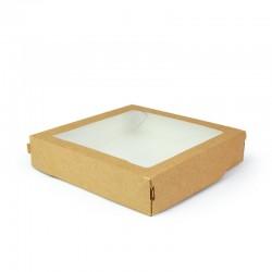 Контейнер для еды бумажный универсальный с окошком 200*200*40мм, 1РЕ крафт