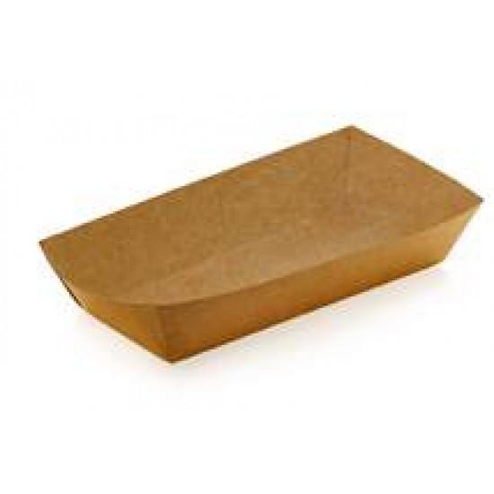 Тарелка-лодочка бумажная большая   Крафт 190*85*42мм