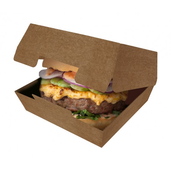 Коробка бумажная под бургер большая 120*120*70мм цвета крафт, внутри крафт