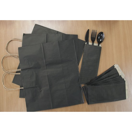 Крафт пакет бумажный с кручеными ручками 330*160*260мм черный