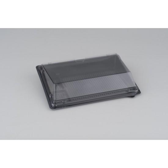 Контейнер черный для суши малый (витрина, дно, 4 деления) РЕТ  183*128*32мм