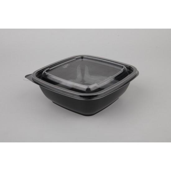Контейнер квадратный черный РЕТ для салата  160*160*60мм, 875мл