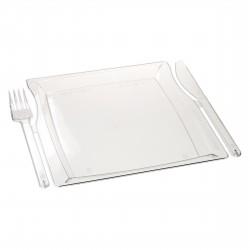 Комбо тарелка (вилка+нож) 225*195*12мм прозрачная
