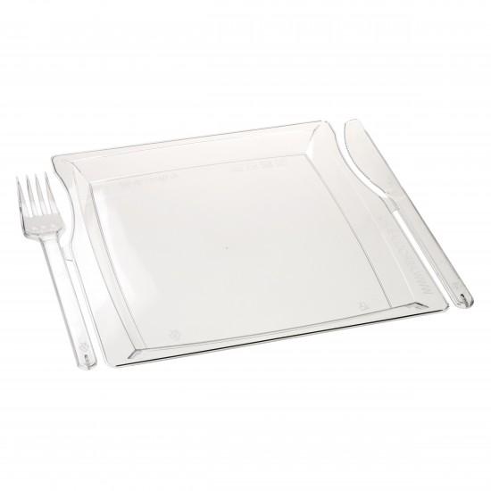 Комбо тарелка (вилка+нож)   Прозрачная 225*195*12мм