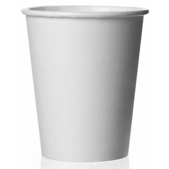 Стакан бумажный 1РЕ одностенный белый 230мл (8oz) Ǿ=77мм, h=90мм
