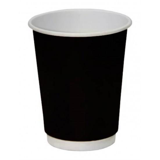 Стакан бумажный двустенный (double wall) черный 250мл Ǿ=80мм, h=92мм