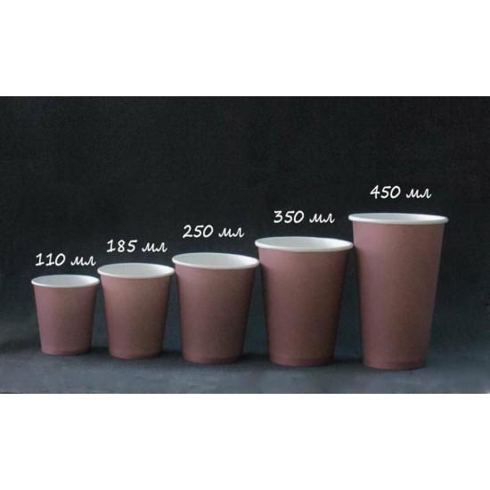 Стакан бумажный 1РЕ одностенный коричневый 250мл (8oz) Ǿ=80мм, h=92мм