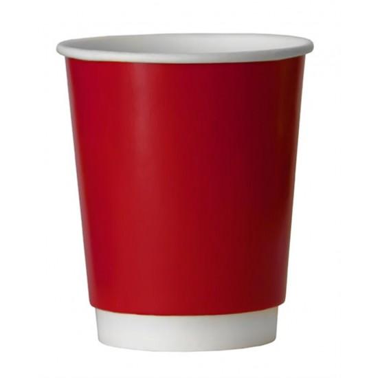 Стакан бумажный двухслойный 350мл | Красный с Белой стенкой Ø=90мм, h=111мм