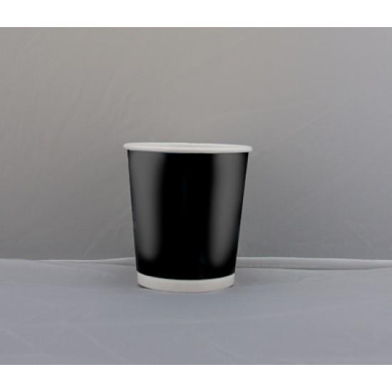 Стакан бумажный двухслойный 180мл | Черный с Белой стенкой Ø=71мм, h=52мм