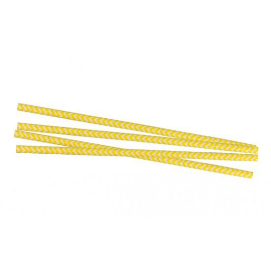 Трубочка (соломинка) бумажная (Ёлка) Ø=6мм, d=195мм | Желтая