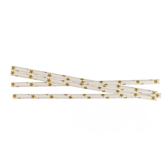 Трубочка (соломинка) бумажная (Звезда) Ø=6мм d=195мм   Золотая