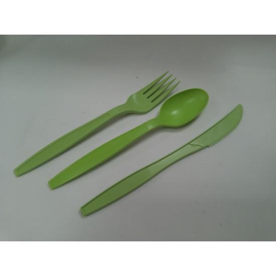 Вилка одноразовая столовая 16см (биоразлагаемая, кукурузный крахмал) зеленая