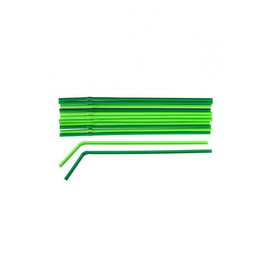 Трубочки BIO с коленом Ø=5мм, d=240мм | Зеленые/Темно-зеленые (500шт/уп)