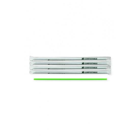 Трубочки BIO без колена Ø=5мм, d=200мм в индивидуальной упаковке | Зеленые (400шт/уп)